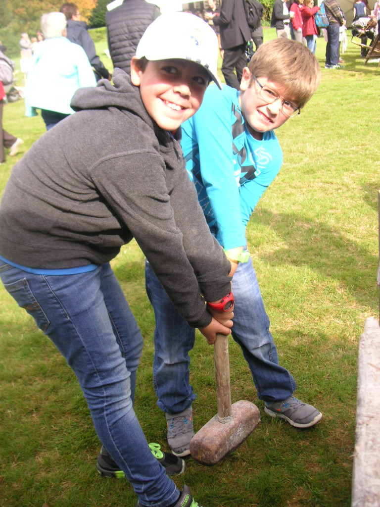 Wicklow's Heritage Buildings Show 2015 - trying to lift heavy hammer