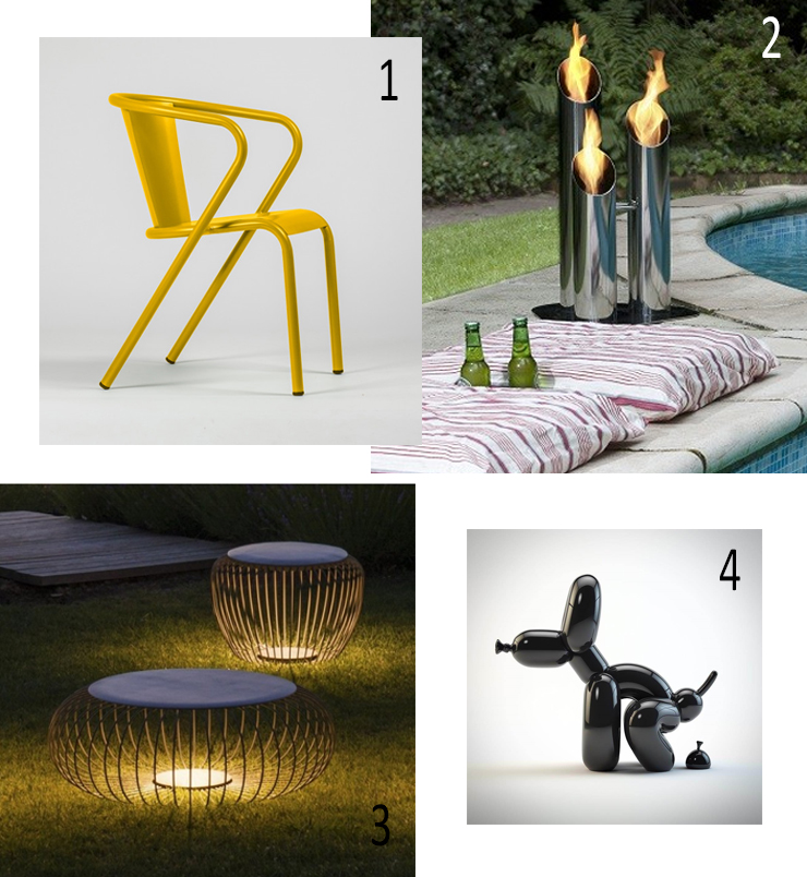 Bica chair, Oliva, Meridiano Vibia, Outdoor light , Bio-blaze, Bioethanol outdoor stainless steel fireplace, Small Pipes, Popek whatshisname, Sculpture dog