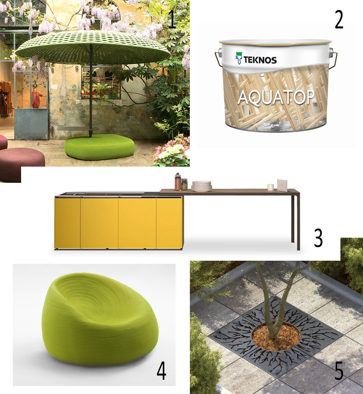 Teknos, Aquacoat, Wooden windows, doors, timber cladding, softwoods, hardwoods, engineered and modified timbers, UMBRELLA SUNSHADE WITH SEAT, Paola Lenti, dESIGNER F. Rota, OUTDOOR KITCHEN, Compact Island Outdoor, Estel, POUF, TREE GRILLE, Lab23, LAB.SP.001