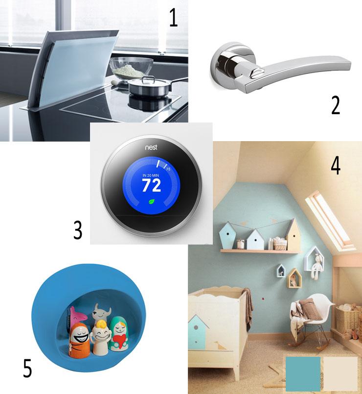 Gutmann Futura downdraft, kitchen worktop exhaustor, door handle, olivari, milano 2, crown paints, nest smart thermostat, alessi presepe