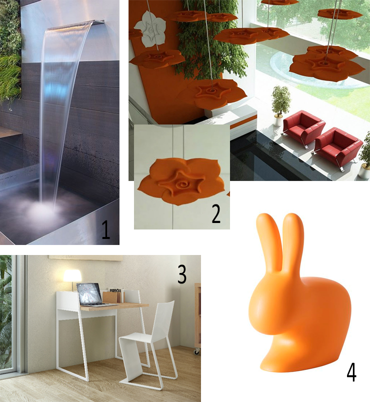 Isabel Picks for Spring 2017, water wall, water blade, fountain, Rockworld water features, Soundtect Celest, acoustic panels, Working Desk - POP UP HOME, Rabbit Chair Baby orange, Steffano Giovannoni