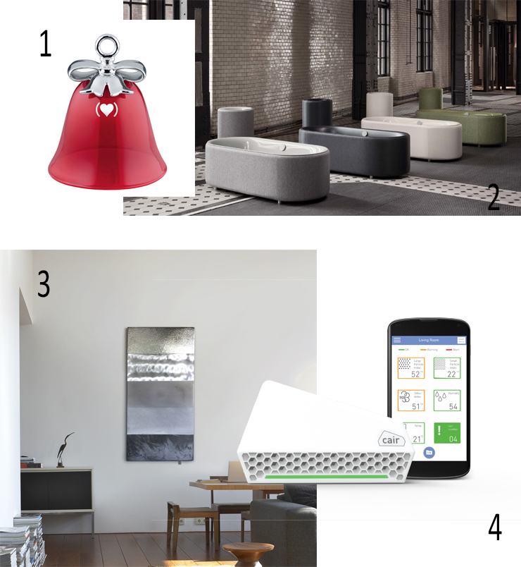 Isabel Picks Winter 2018, Brown Thomas, ALESSI Dressed Christmas Bell Ornament, BetteLux Oval Couture Bath, Sculptural Aluminium Radiator, Phosphorus, Nuwave cair Air Quality Sensor