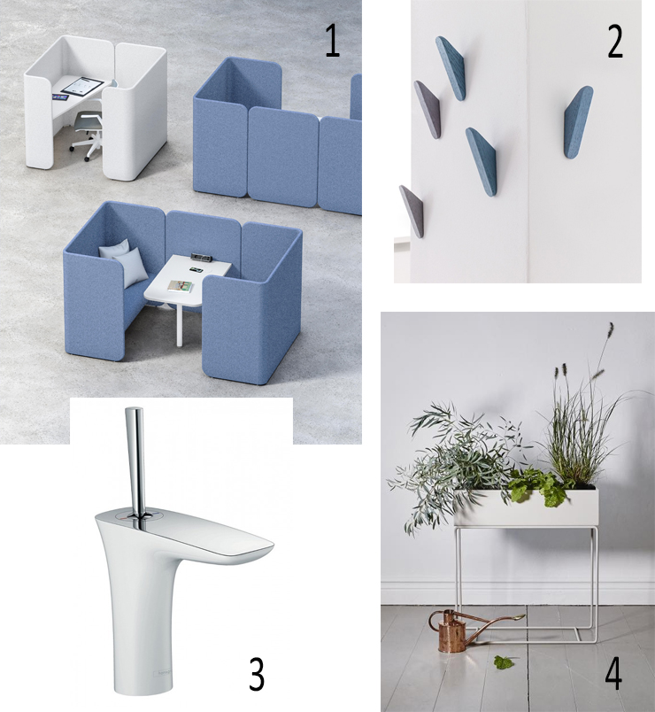 Isabel Picks for Spring 2020 - Isabel Barros Architects Wexford.OFFICE WORKSTATION, Fantoni, Hug, WALL HOOKS, Schönbuch,Studio Taschide, Cut wall hooks, BASIN TAP, Hansgrohe, PuraVida Single lever basin mixer 110,  Tubs & Tiles, PLANT BOX, Ferm Living